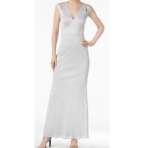 Calvin Klein Silver Metalic Sheath Formal Gown 14